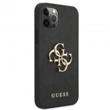 Guess Saffiano 4G Big Metal Logo - Etui iPhone 12 Pro Max (czarny)
