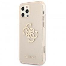 Guess Glitter 4G Big Logo - Etui iPhone 12 / iPhone 12 Pro (złoty)