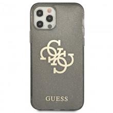 Guess Glitter 4G Big Logo - Etui iPhone 12 / iPhone 12 Pro (czarny)