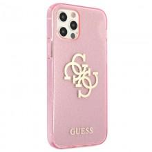 Guess Glitter 4G Big Logo - Etui iPhone 12 Pro Max (różowy)