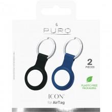 PURO ICON Case - Silikonowy brelok do Apple AirTag (zestaw 2 sztuk) (czarny i granatowy)