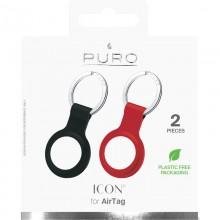 PURO ICON Case - Silikonowy brelok do Apple AirTag (zestaw 2 sztuk)  (czarny i czerwony)