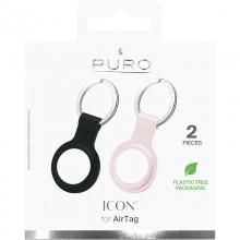 PURO ICON Case - Silikonowy brelok do Apple AirTag (zestaw 2 sztuk) (czarny i piaskowy róż)