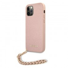Guess Saffiano Chain - Etui iPhone 12 / iPhone 12 Pro (różowy)