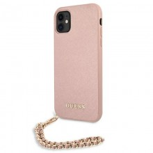 Guess Saffiano Chain - Etui iPhone 11 (różowy)