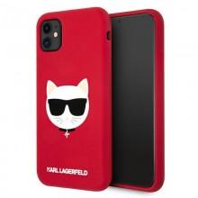 Karl Lagerfeld Choupette Head Silicone - Etui iPhone 11 (czerwony)