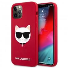 Karl Lagerfeld Choupette Head Silicone - Etui iPhone 12 / iPhone 12 Pro (czerwony)