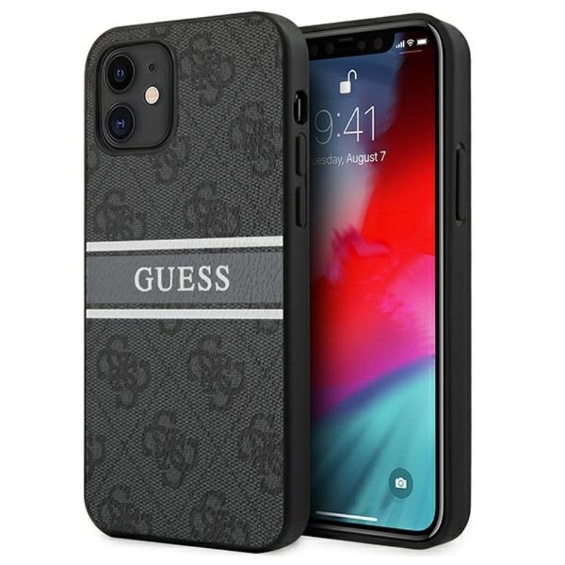 Guess 4G Stripe Collection – Etui iPhone 12 mini (szary)