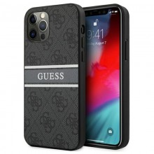 Guess 4G Stripe Collection - Etui iPhone 12 / iPhone 12 Pro (szary)