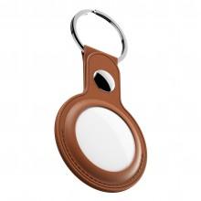 KeyBudz AirTag Keyring - skórzane etui ochronne do AirTag 2- pack (Tan)
