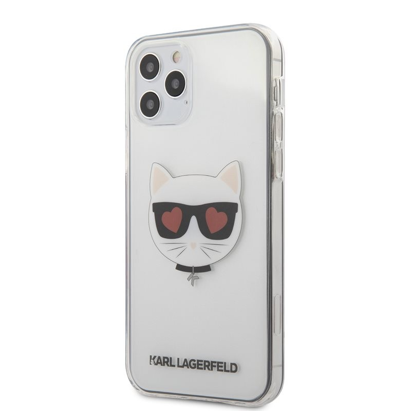 Karl Lagerfeld Choupette Head Heart - Etui iPhone 12 / iPhone 12 Pro (przezroczysty)