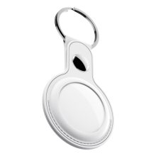KeyBudz AirTag Keyring - skórzane etui ochronne do AirTag 2- pack (białe)