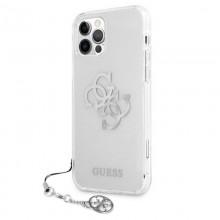 Guess 4G Big Logo Charm - Etui iPhone 12 / iPhone 12 Pro (srebrny charms)