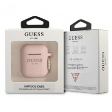 Guess Silicone Glitter Case Est – Etui Airpods (różowy)