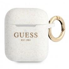 Guess Silicone Glitter Case Est – Etui Airpods (biały)
