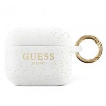 Guess Silicone Glitter Case Est – Etui Airpods Pro (biały)
