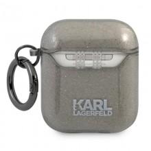 Karl Lagerfeld Choupette Head Glitter - Etui Airpods (czarny)