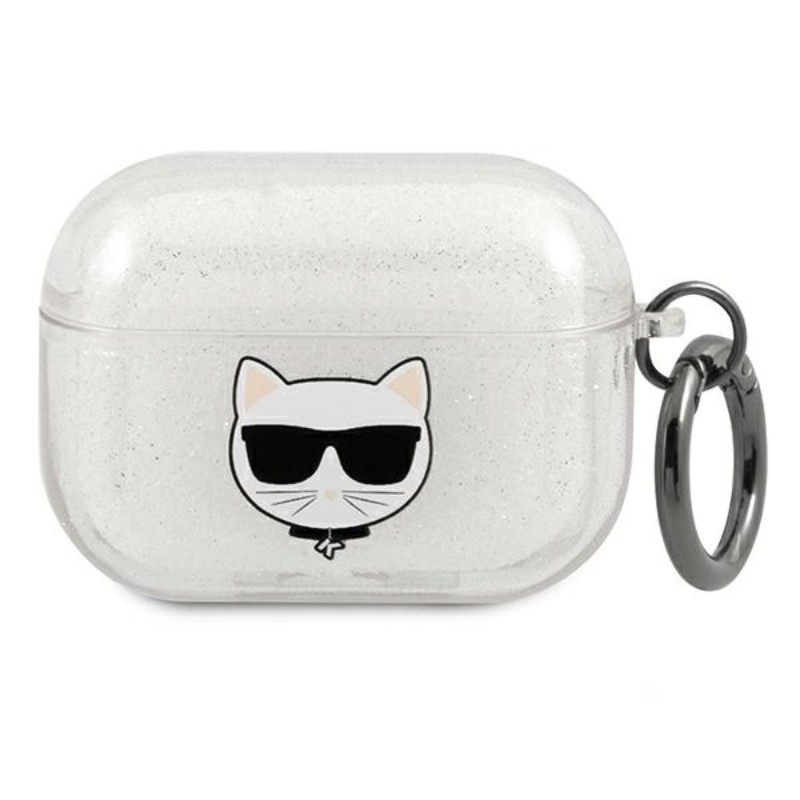 Karl Lagerfeld Choupette Head Glitter - Etui Airpods Pro (srebrny)