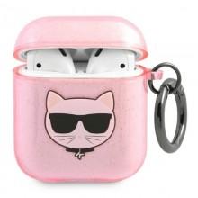 Karl Lagerfeld Choupette Head Glitter - Etui Airpods (różowy)
