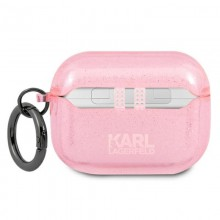 Karl Lagerfeld Choupette Head Glitter - Etui Airpods Pro (różowy)