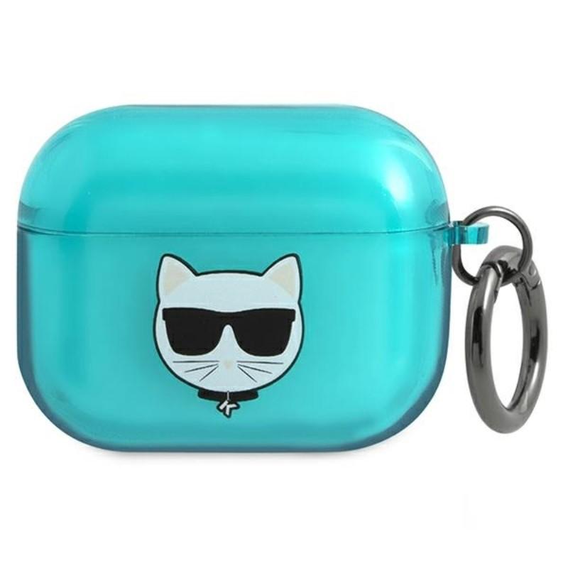 Karl Lagerfeld Choupette Head - Etui Airpods Pro (fluo niebieski)