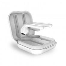 PURO SLIM POD TWS 5.0 – Bezprzewodowe słuchawki Bluetooth V5.0 z etui ładującym, wodoszczelność IPX5 (Biały)