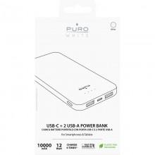 PURO White Fast Charger Power Bank – Power bank dla smartfonów i tabletów 10000 mAh, 2xUSB-A + 1xUSB-C (biały)