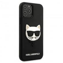 Karl Lagerfeld Choupette Head 3D Rubber - Etui iPhone 12 Pro Max (czarny)