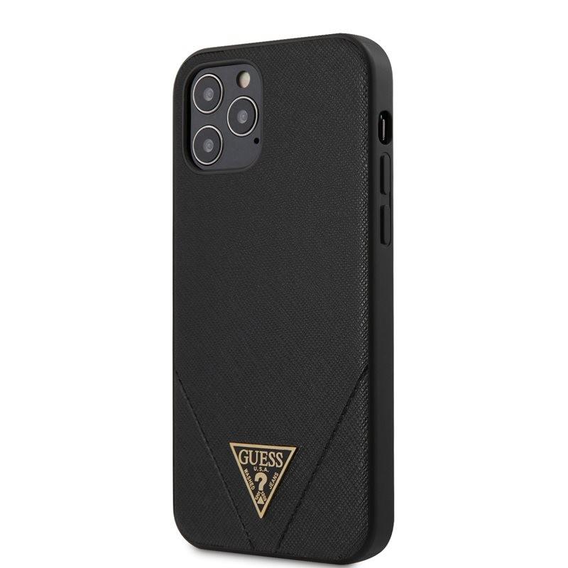 Guess Saffiano V - Etui iPhone 12 / iPhone 12 Pro (czarny)