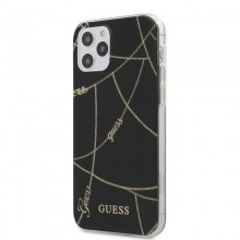 Guess Gold Chain - Etui iPhone 12 / iPhone 12 Pro (czarny)