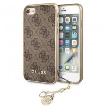 Guess 4G Charms Collection - Etui iPhone SE 2020 / 8 / 7 z zawieszką (brązowy)