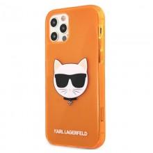 Karl Lagerfeld Choupette Head - Etui iPhone 12 / iPhone 12 Pro (Fluo Orange)