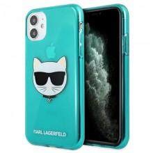 Karl Lagerfeld Choupette Head - Etui iPhone 11 (Fluo Blue)