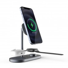 TECH-PROTECT A22 3IN1 MAGNETIC MAGSAFE WIRELESS CHARGER GREY