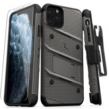 Zizo Bolt Cover - Pancerne etui iPhone 11 Pro Max ze szkłem 9H na ekran + podstawka & uchwyt do paska (Metal Gray/Black)