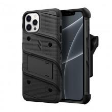 ZIZO BOLT Series - Pancerne etui iPhone 13 Pro Max ze szkłem 9H na ekran + uchwyt z podstawką (czarny)