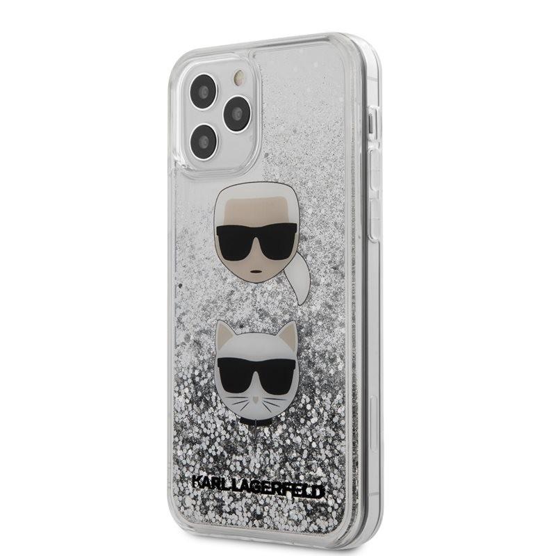 Karl Lagerfeld Liquid Glitter 2 Heads - Etui iPhone 12 / iPhone 12 Pro (srebrny)