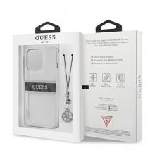 Guess 4G Stripe Grey Charm  - Etui iPhone 13 Pro (przezroczysty)