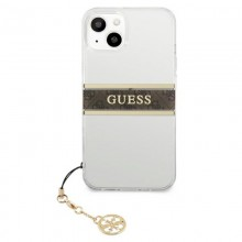 Guess 4G Stripe Brown Charm  - Etui iPhone 13 mini (przezroczysty)