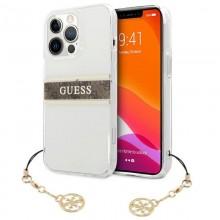 Guess 4G Stripe Brown Charm  - Etui iPhone 13 Pro (przezroczysty)