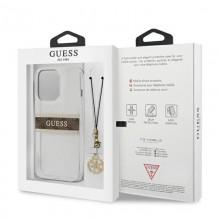 Guess 4G Stripe Brown Charm  - Etui iPhone 13 Pro Max (przezroczysty)