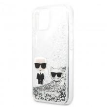 Karl Lagerfeld Liquid Glitter Karl & Choupette - Etui iPhone 13 mini (srebrny)