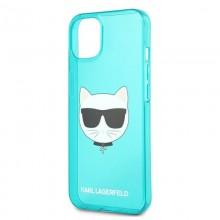 Karl Lagerfeld Choupette Head - Etui iPhone 13 (fluo niebieski)