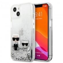 Karl Lagerfeld Liquid Glitter Karl & Choupette - Etui iPhone 13 (srebrny)