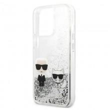 Karl Lagerfeld Liquid Glitter Karl & Choupette - Etui iPhone 13 Pro (srebrny)
