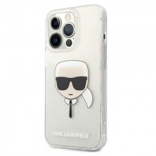 Karl Lagerfeld Choupette Head Glitter - Etui iPhone 13 Pro (srebrny)