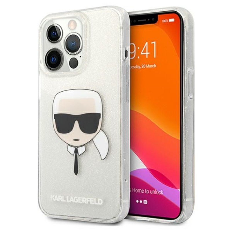 Karl Lagerfeld Choupette Head Glitter - Etui iPhone 13 Pro Max (srebrny)
