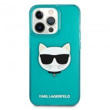 Karl Lagerfeld Choupette Head - Etui iPhone 13 Pro Max (fluo niebieski)