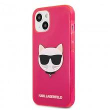 Karl Lagerfeld Choupette Head - Etui iPhone 13 mini (fluo różowy)
