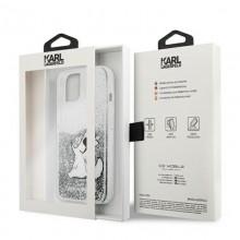 Karl Lagerfeld Liquid Glitter Choupette Fun - Etui iPhone 13 mini (srebrny)